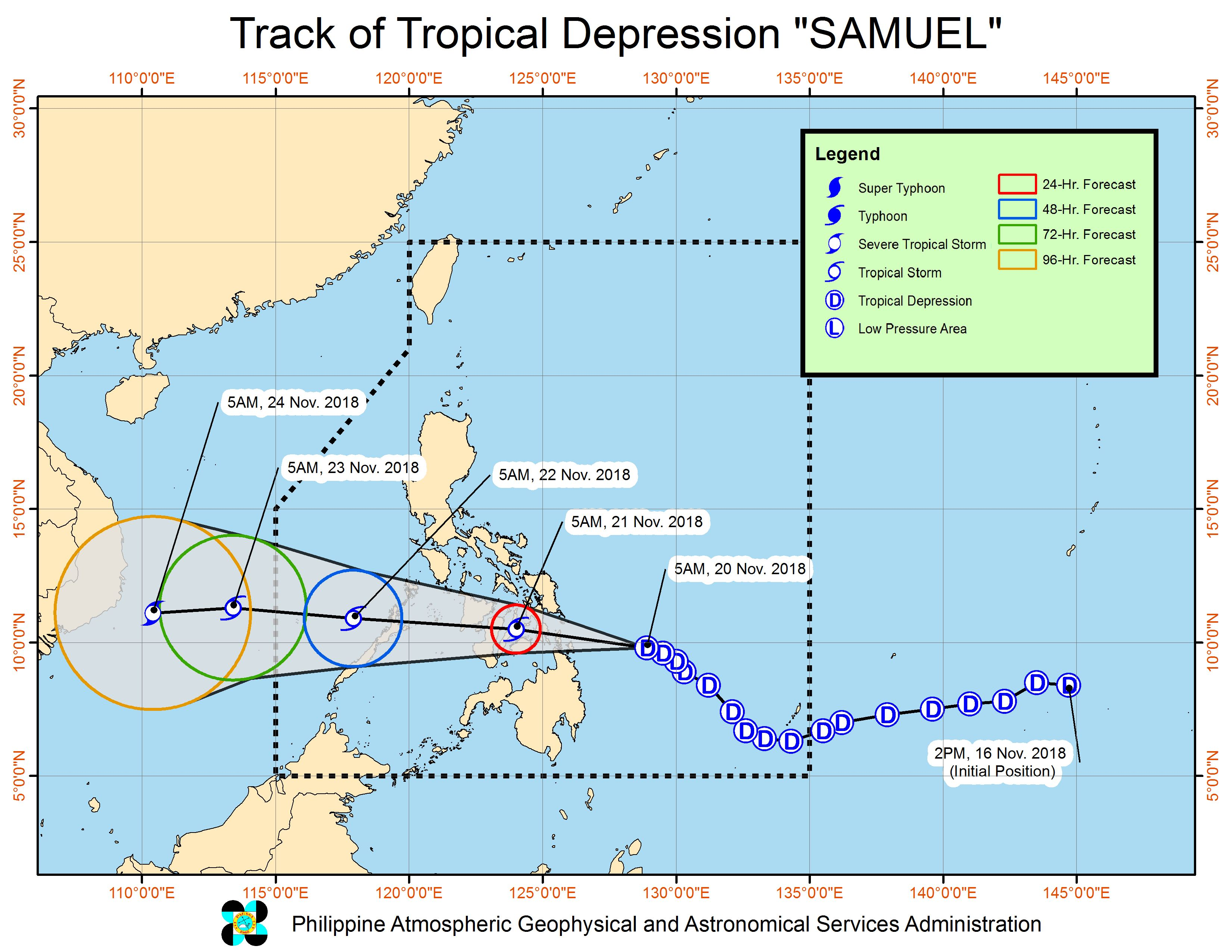 Forecast track of Tropical Depression Samuel as of November 20, 2018, 8 am. Image from PAGASA