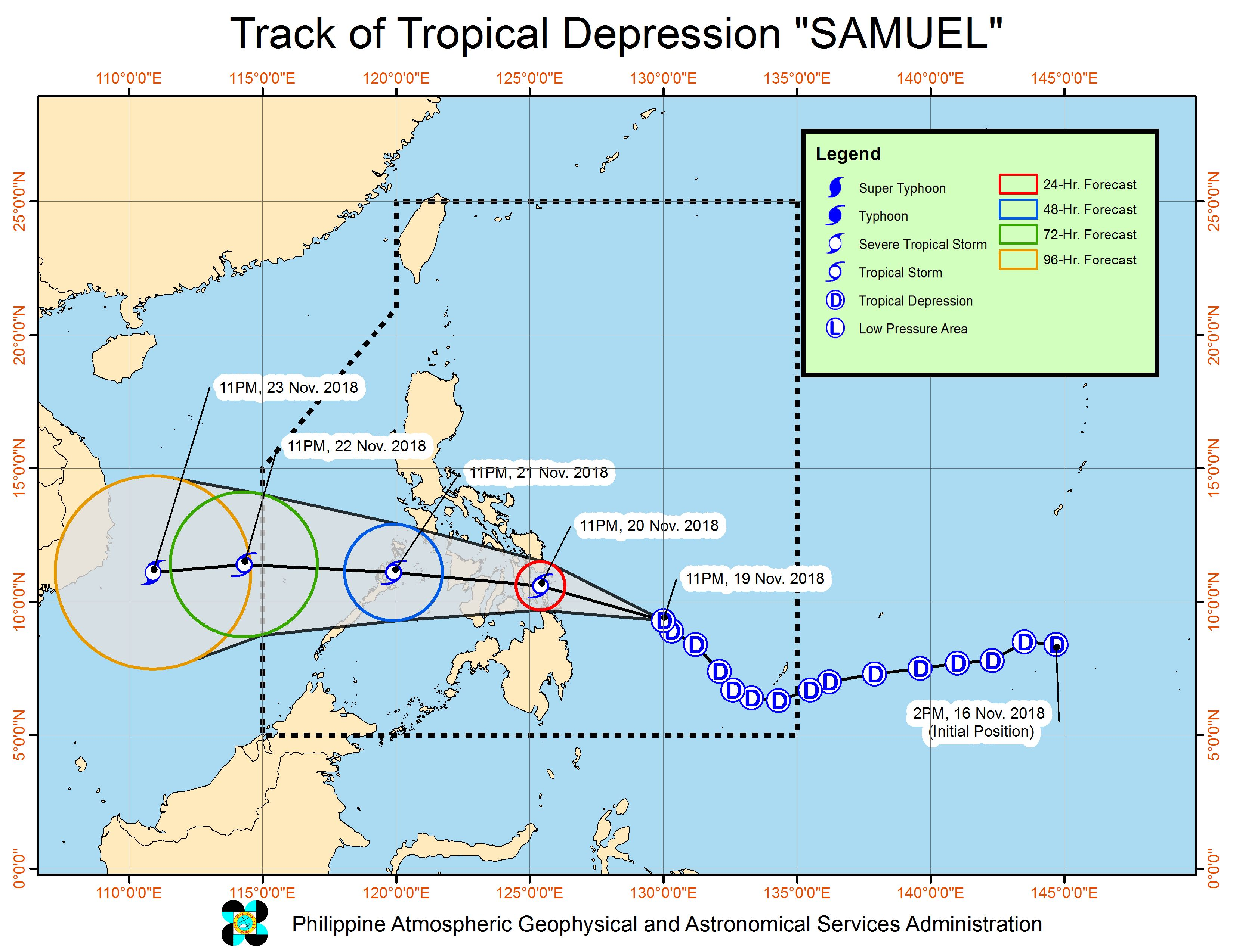 Forecast track of Tropical Depression Samuel as of November 20, 2018, 2 am. Image from PAGASA