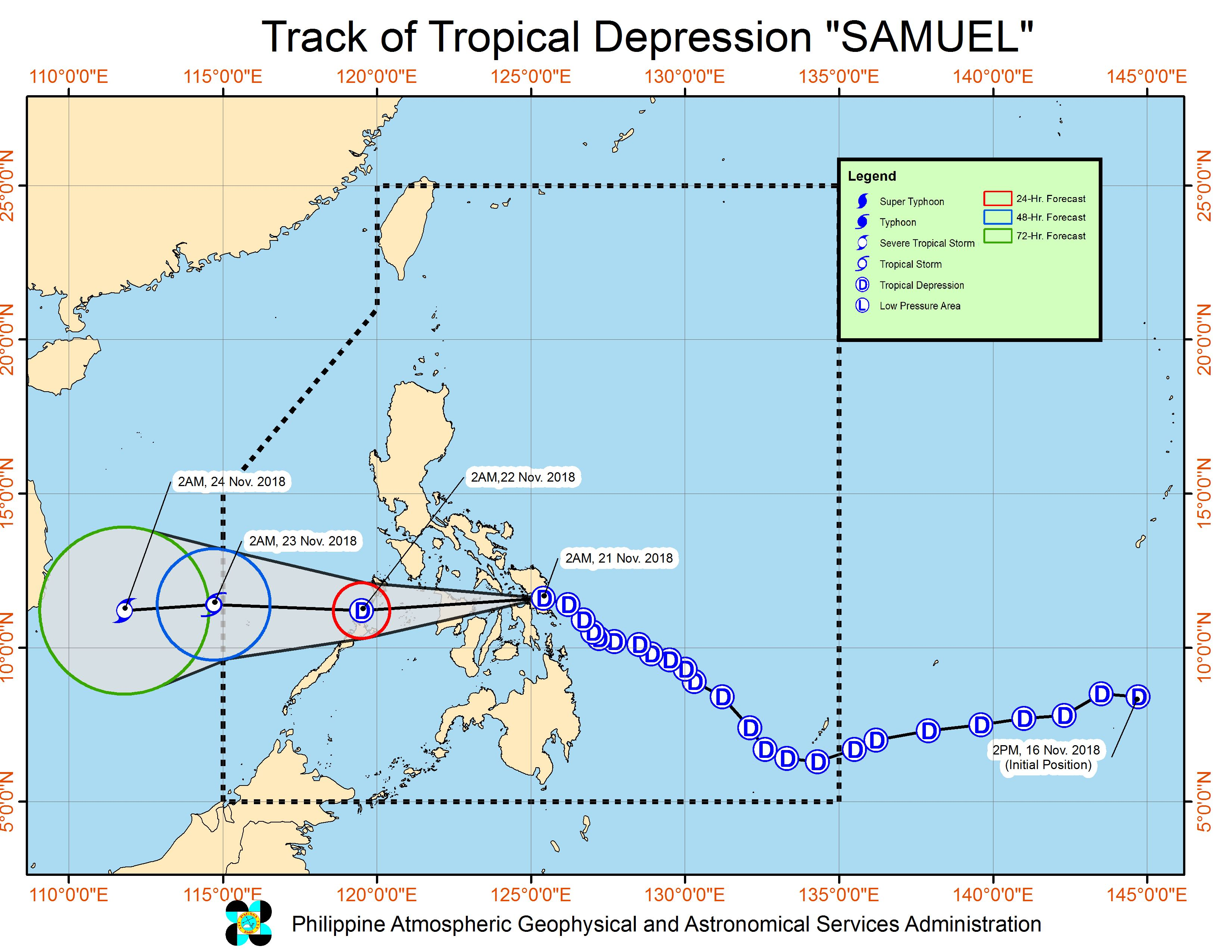 Forecast track of Tropical Depression Samuel as of November 21, 2018, 5 am. Image from PAGASA