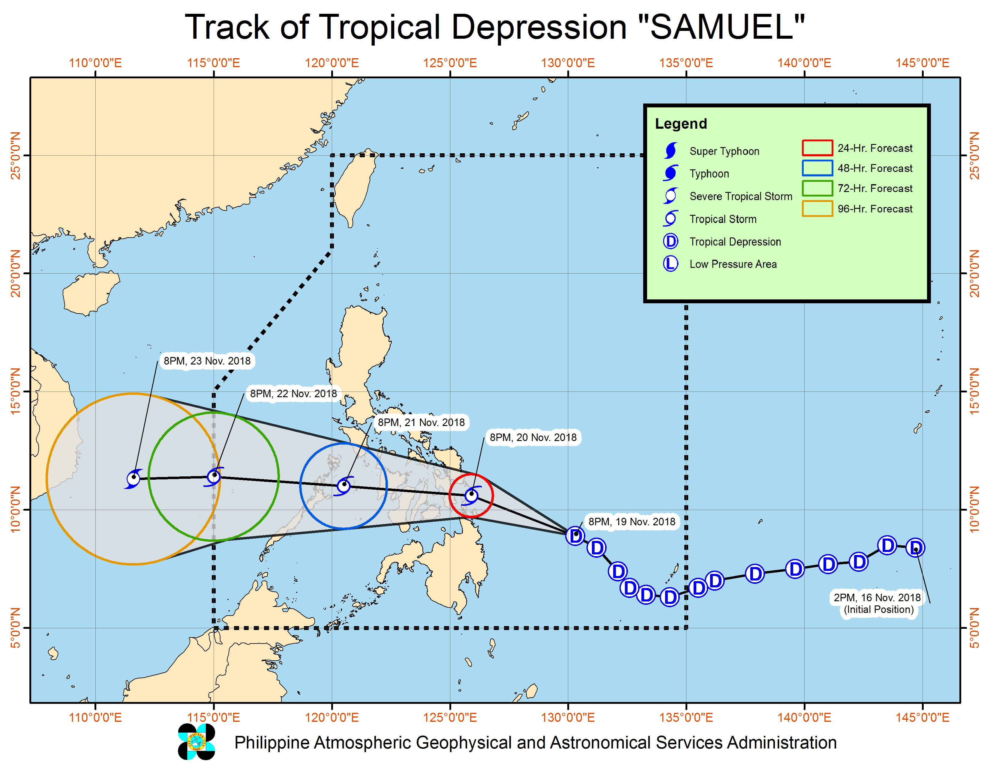 Forecast track of Tropical Depression Samuel as of November 19, 2018, 11 pm. Image from PAGASA