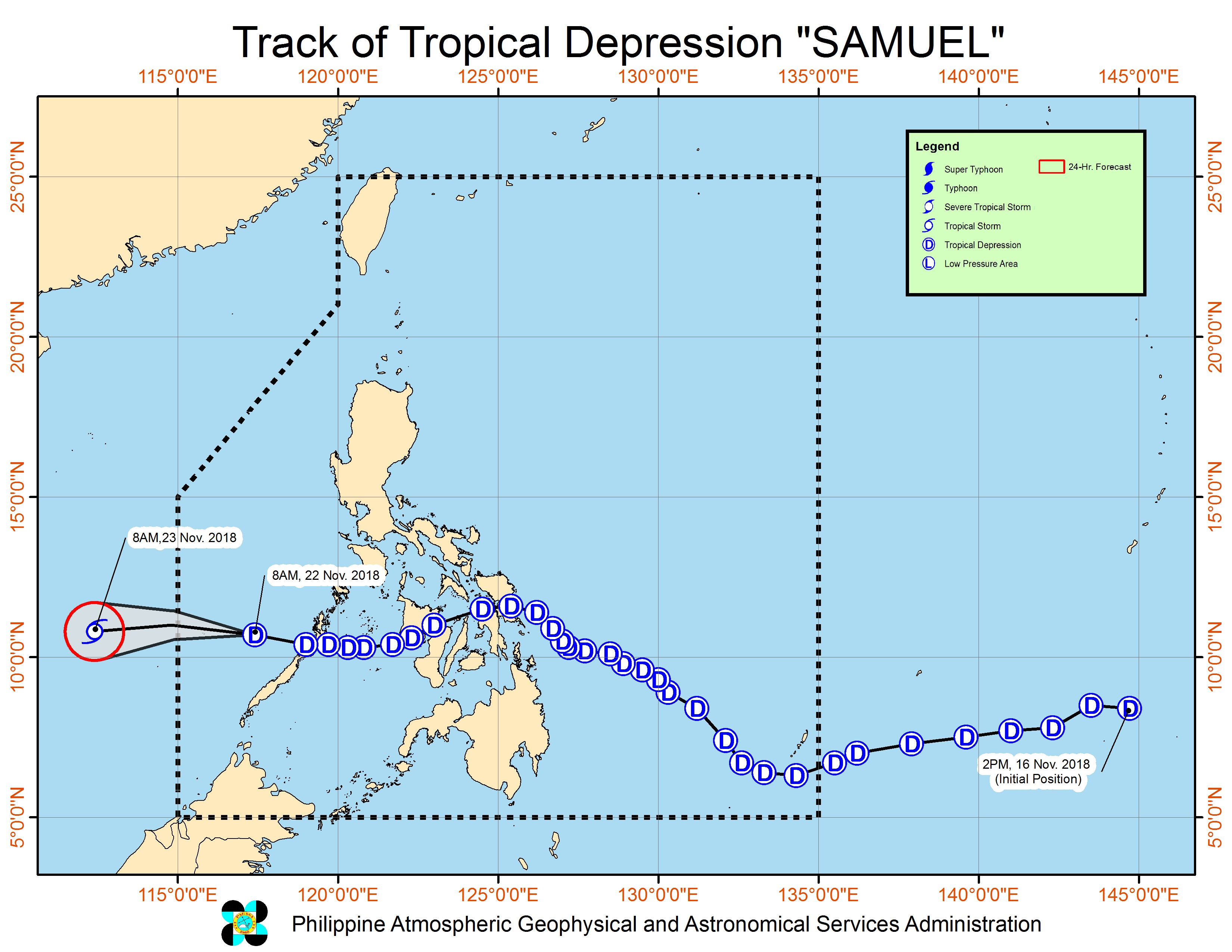 Forecast track of Tropical Depression Samuel as of November 22, 2018, 11 am. Image from PAGASA