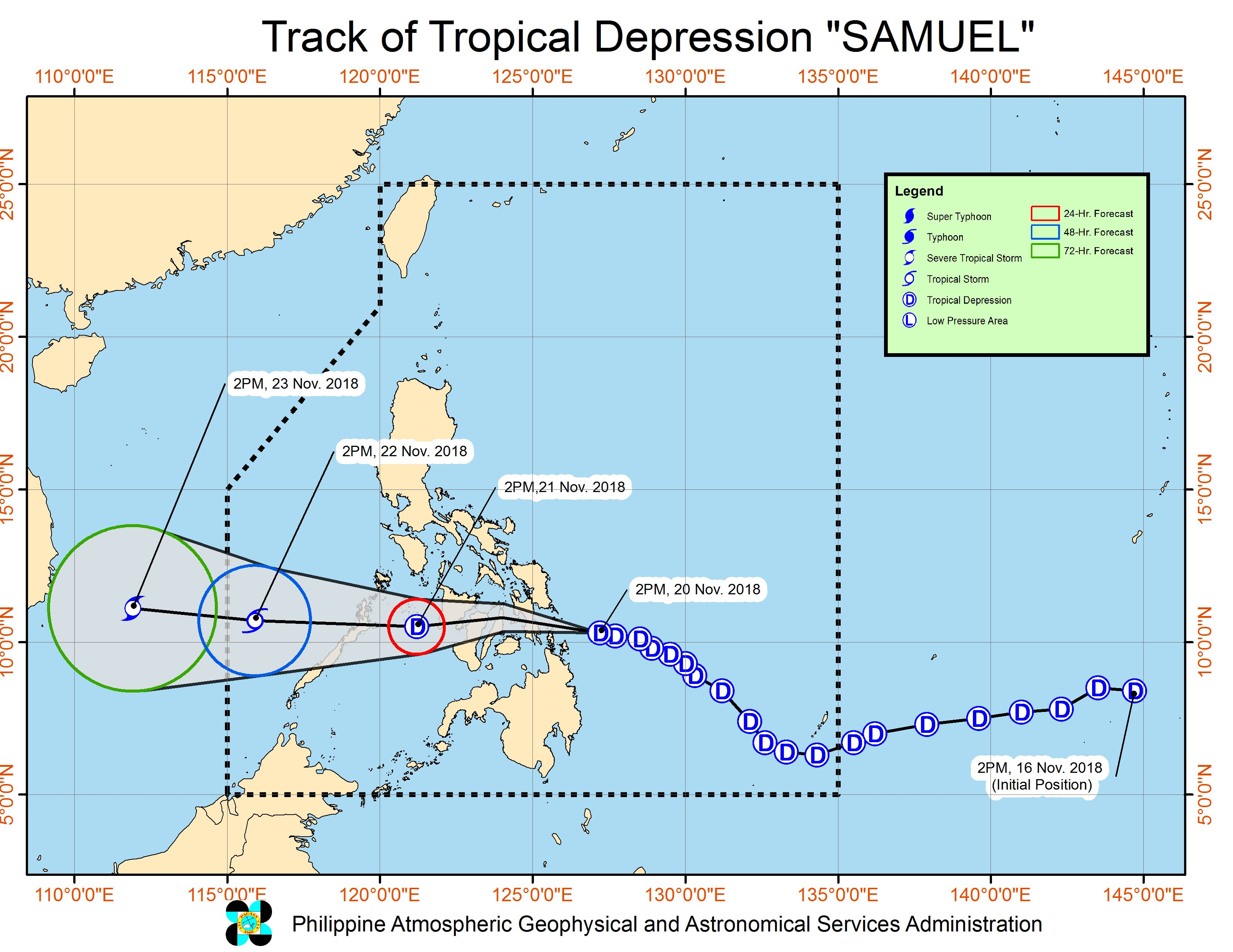 Forecast track of Tropical Depression Samuel as of November 20, 2018, 5 pm. Image from PAGASA