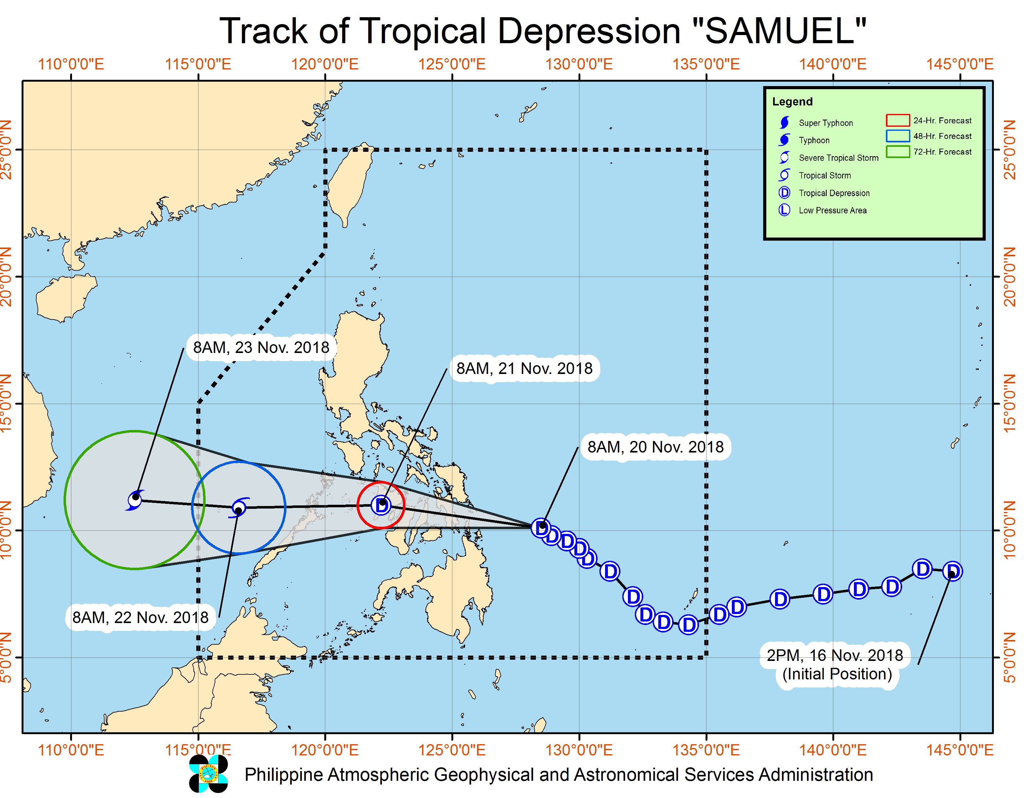 Forecast track of Tropical Depression Samuel as of November 20, 2018, 11 am. Image from PAGASA