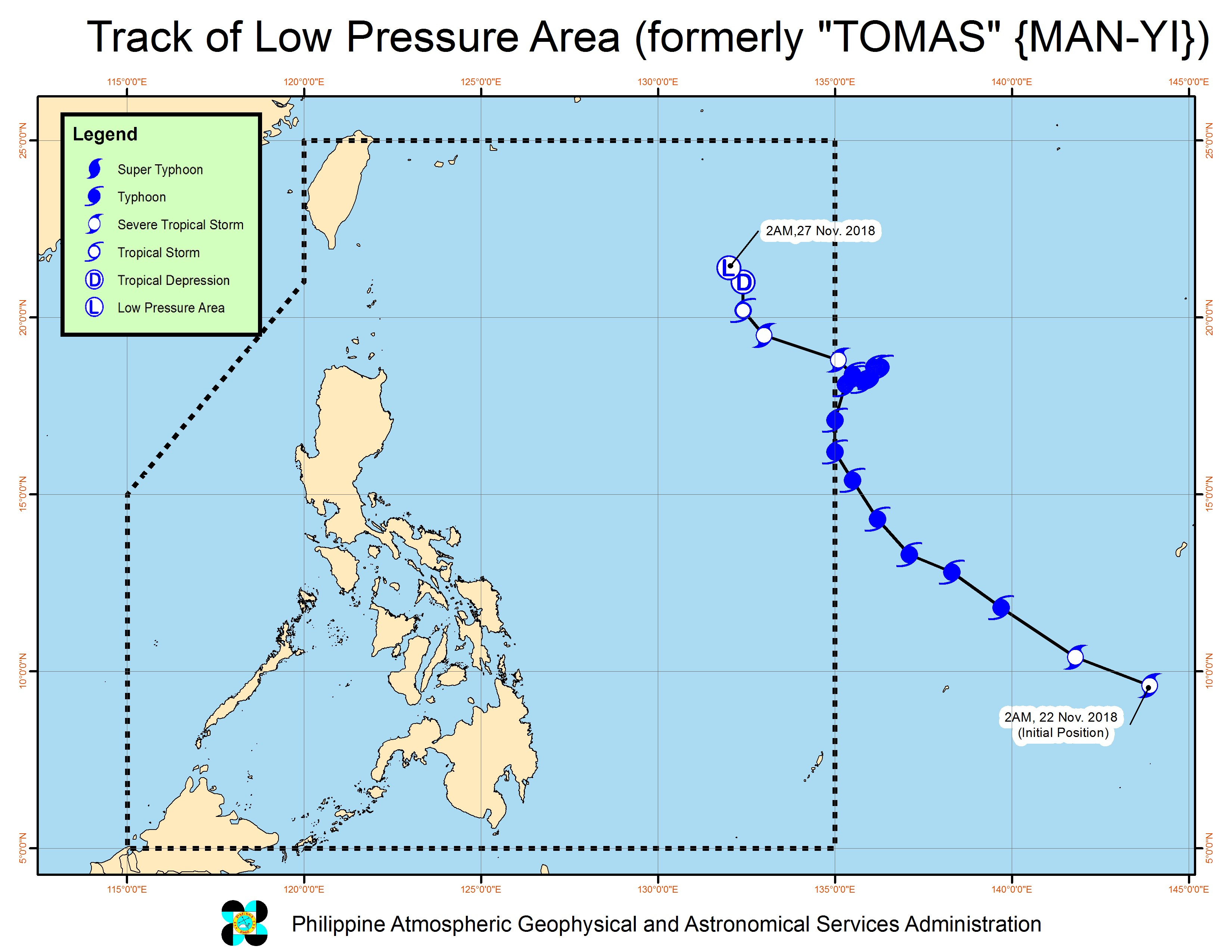 Forecast track of the low pressure area which used to be Tomas (Man-yi), as of November 27, 2018, 5 am. Image from PAGASA