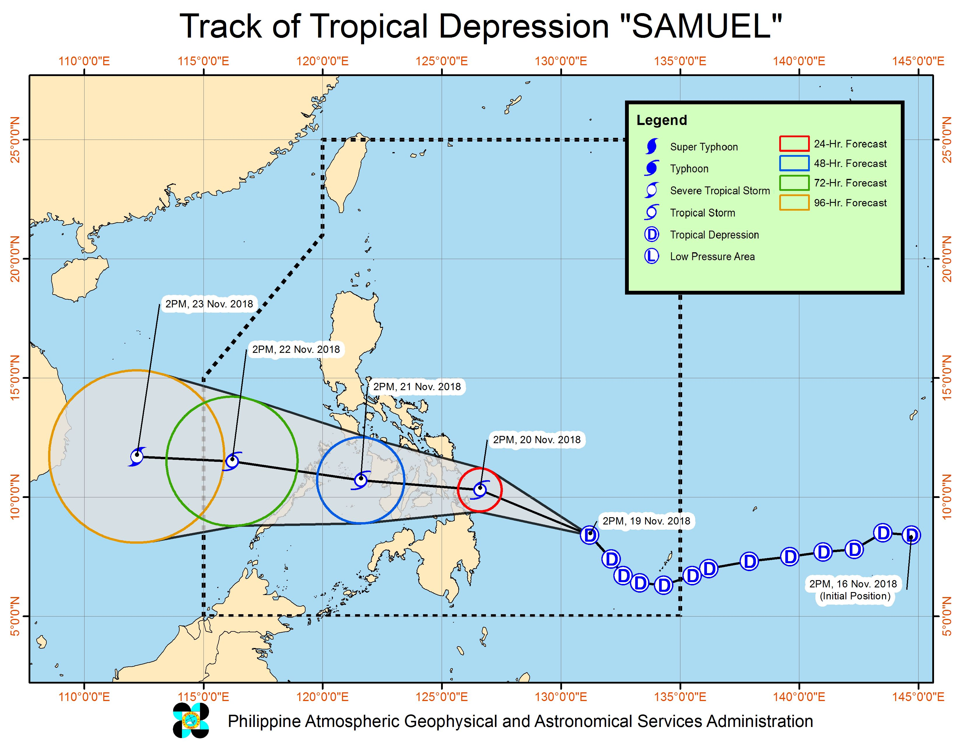 Forecast track of Tropical Depression Samuel as of November 19, 2018, 5 pm. Image from PAGASA