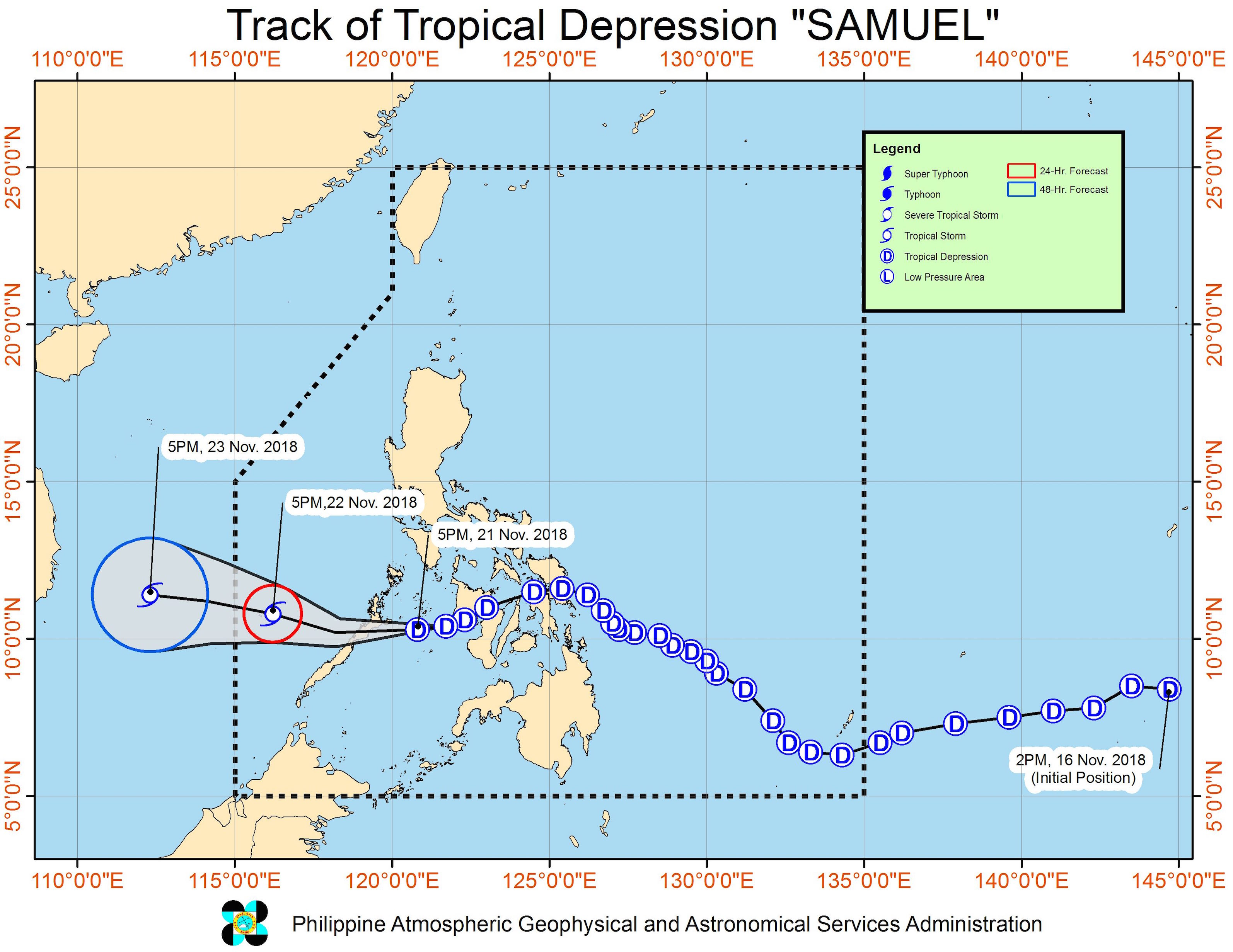 Forecast track of Tropical Depression Samuel as of November 21, 2018, 8 pm. Image from PAGASA