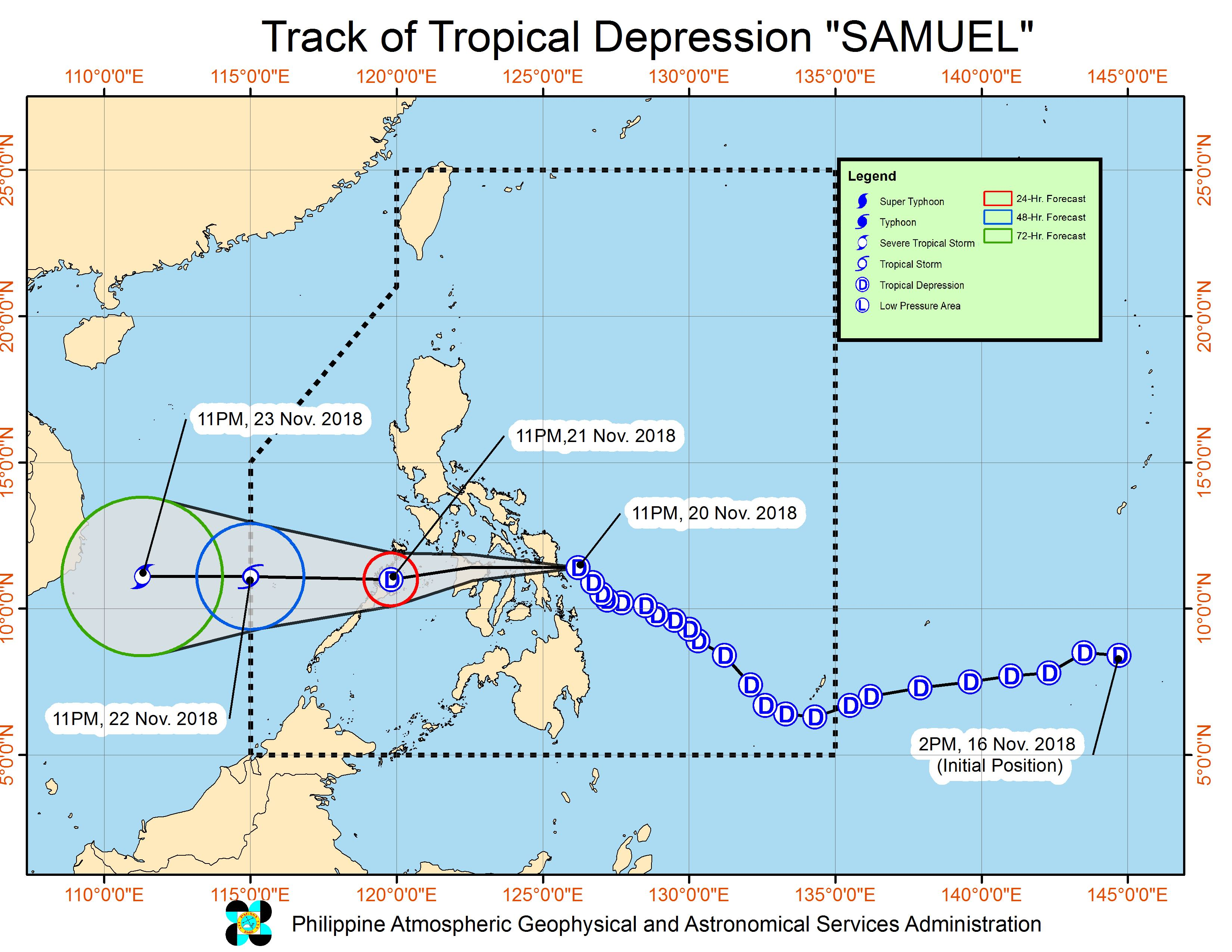 Forecast track of Tropical Depression Samuel as of November 21, 2018, 2 am. Image from PAGASA
