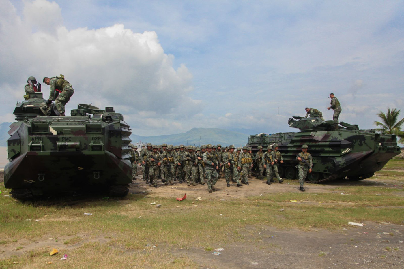 SEA TO LAND. The Armed Forces of the Philippines (AFP) says amphibious assaults are essential to militaries of coastal states like the Philippines, and the addition of 8 brand new amphibious assault vehicles (AAV) to its naval fleet boosts this capability. Photo by Rox Cezar, AFP Public Affairs Office