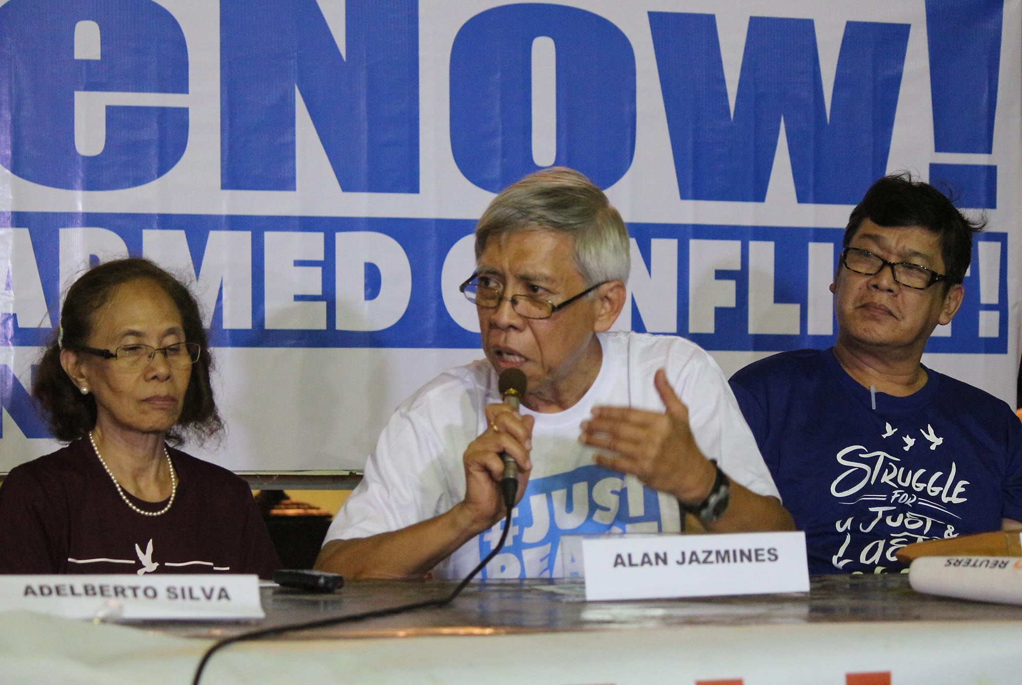 FREE. Freed political prisoners (from left) Concha Araneta Bocalo, Alan Jazmines and Ernesto Lorenzo hold a press conference at the social hall of the Episcopal Mission Center in Quezon City on August 18, 2016. Photo by Joel Liporada/Rappler