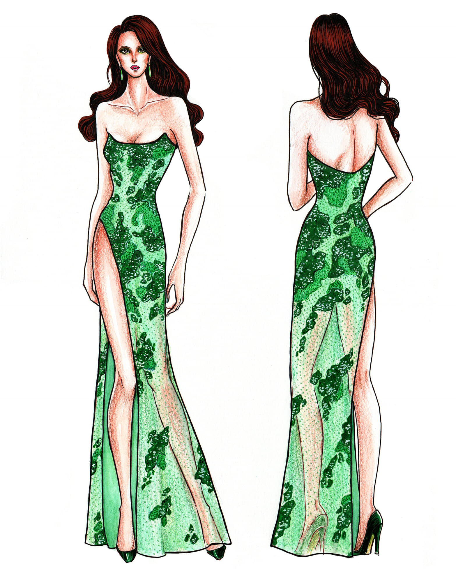 THE ISLANDS. A green gown that has the pattern of the country's islands. Photo from Facebook/Mak Tumang