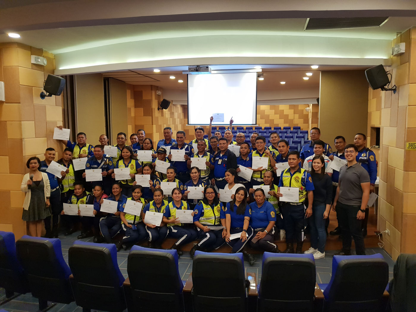 JOB SECURUTY. Pasig City's traffic enforcers take a course on professionalism as a way to possibly gain permanent employment with the local government. Photo by JC Gotinga/Rappler