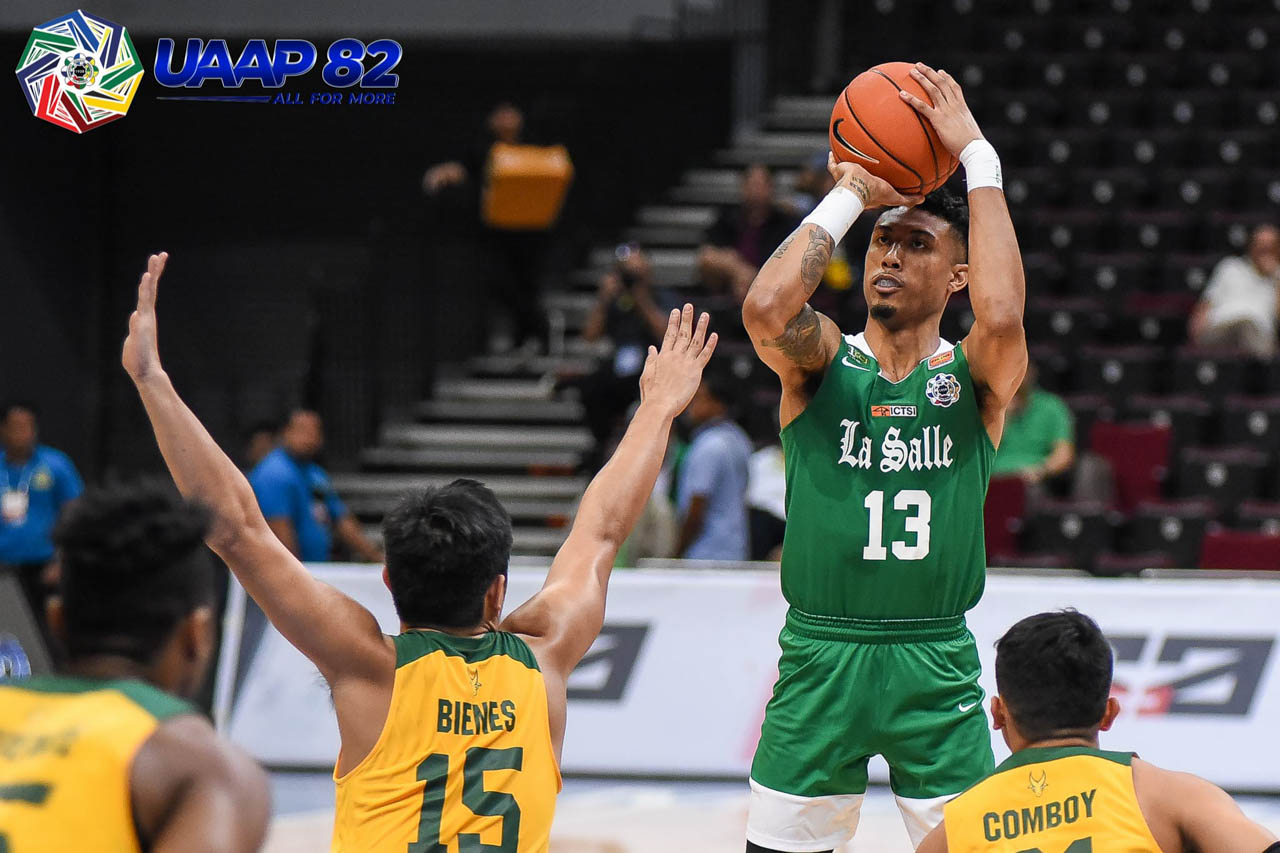 FALLING SHORT. Jamie Malonzo finishes with 20 points after trying to lead the Green Archers' comeback bid. Photo release
