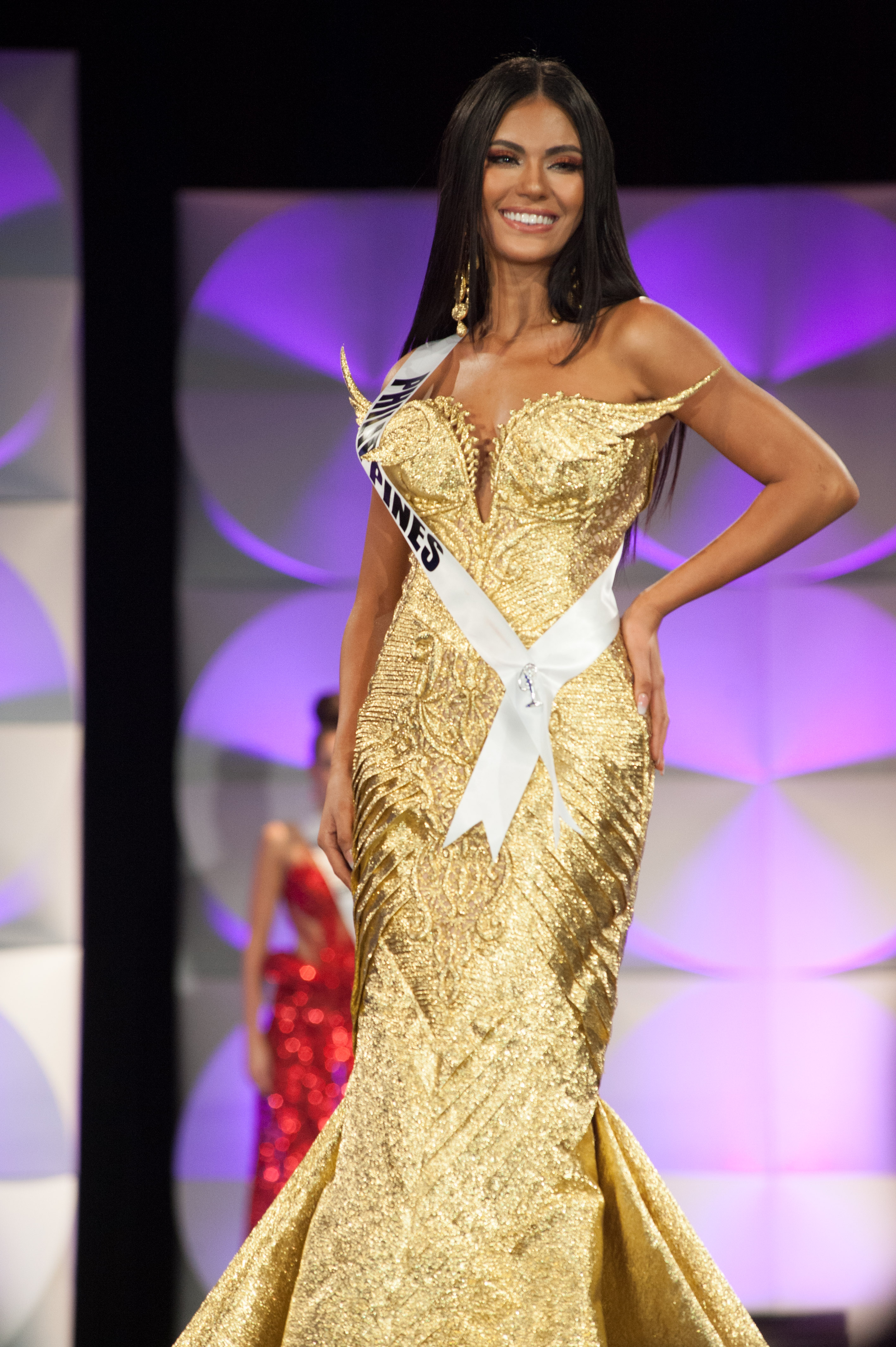GOLD. Gazini Ganados in her evening gown by  Cary Santiago. Photo from Miss Universe Organization