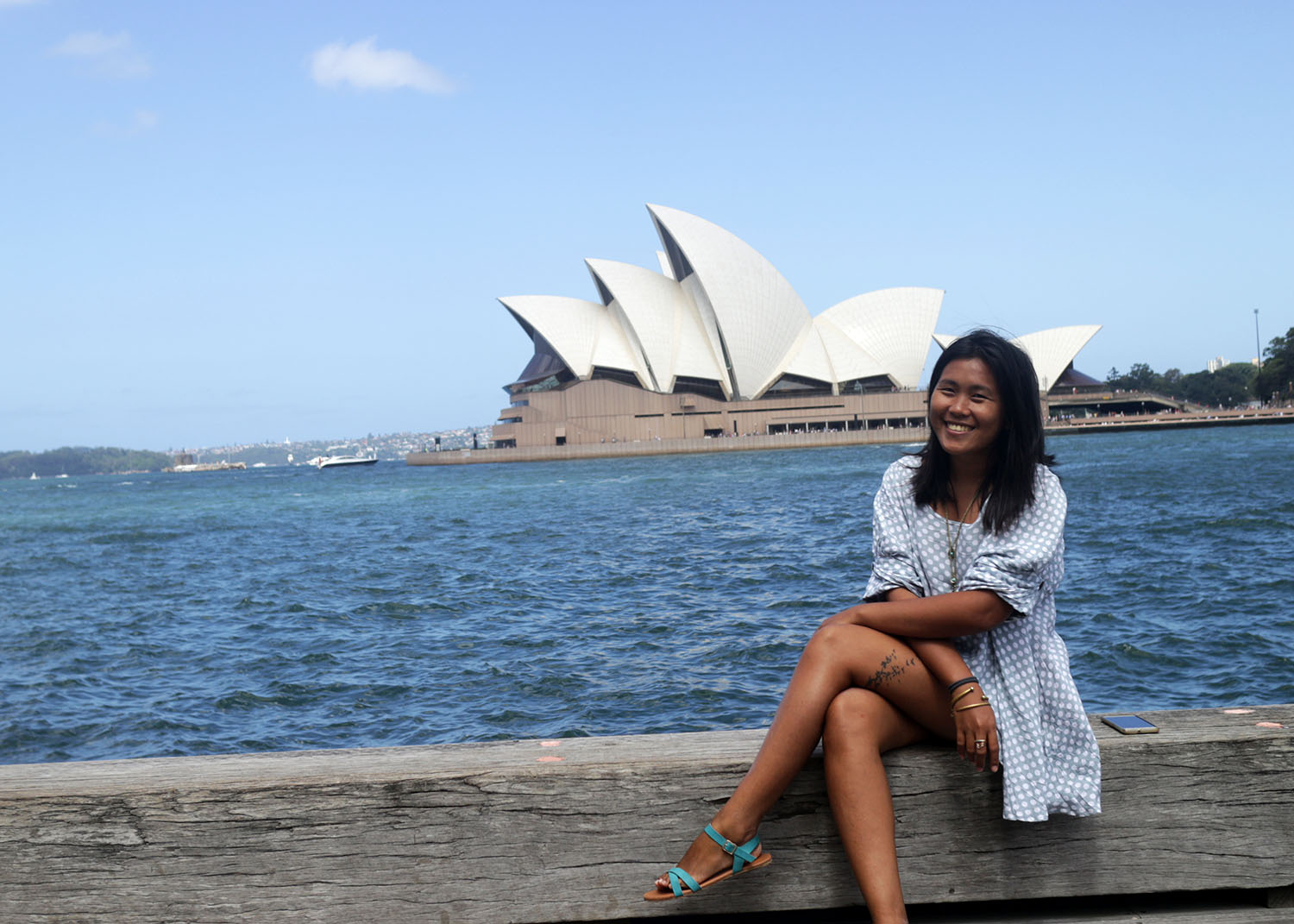 The writer in Sydney, with the Opera House as her background. Photo by Jona Branzuela Bering