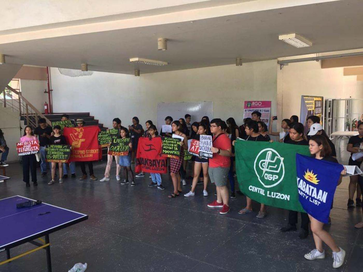 PAMPANGA. Various progressive groups gather at the University of the Philippines Diliman Extension Program in Pampanga to amplify their voices against the u0022Comelec ni Duterte.u0022 Photo by Hazel Gil