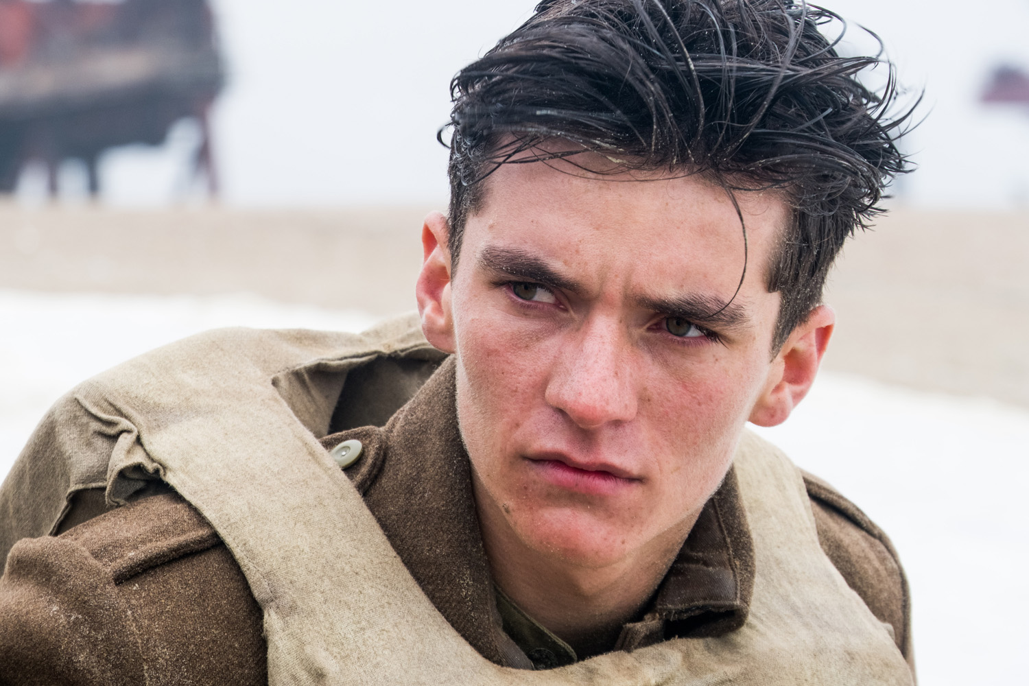Upcoming actor Fionn Whitehead plays Tommy, one of the soldiers in 'Dunkirk.'  Photo courtesy of Warner Bros. Pictures
