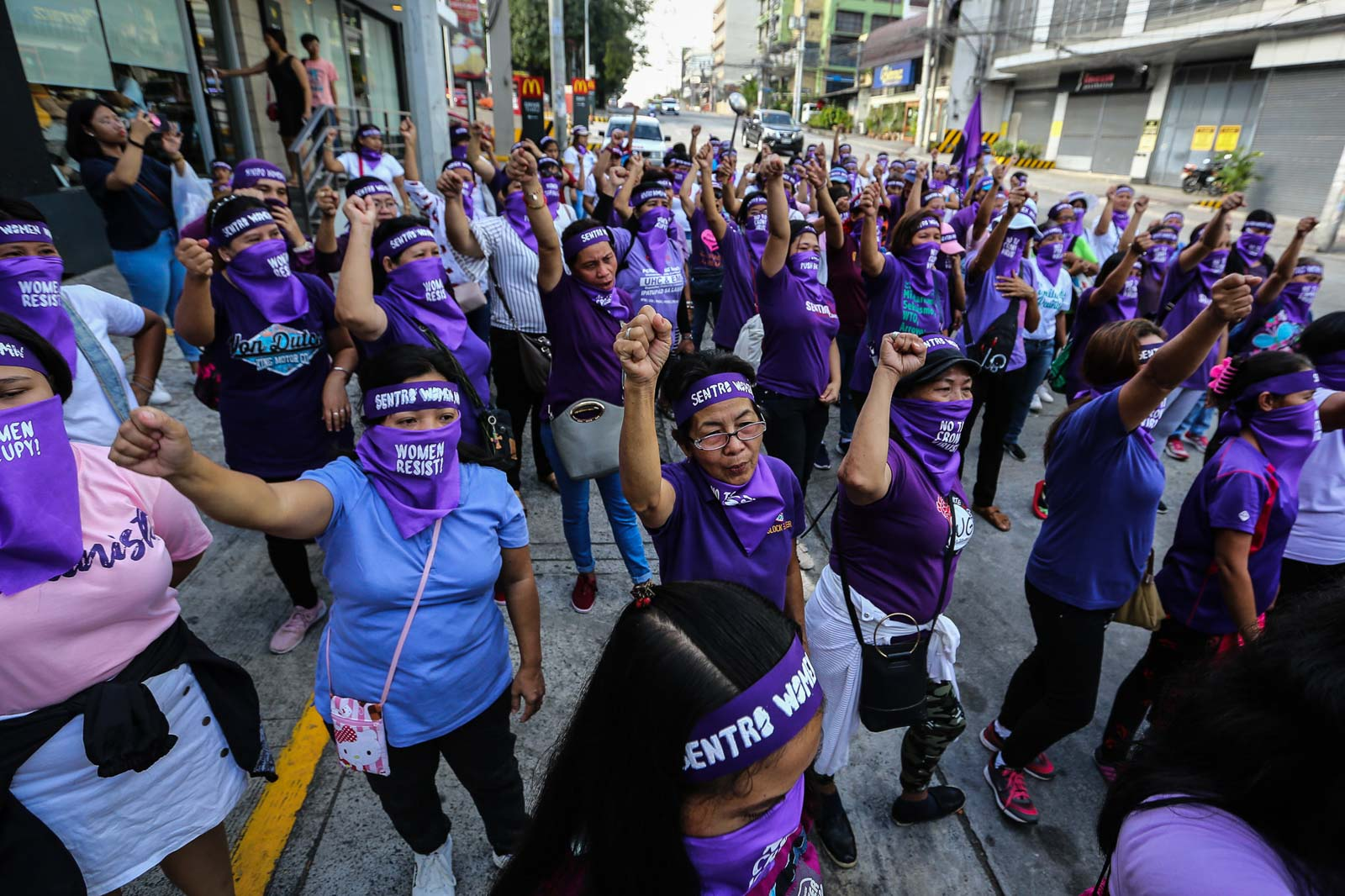 ASSERT HUMAN RIGHTS. World March of Women - Pilipinas during their celebration of the International Women's Day 2020 stand up for accountability for the massive killings and human rights violations propagated by the Duterte administration. Photo by Jire Carreon/Rappler