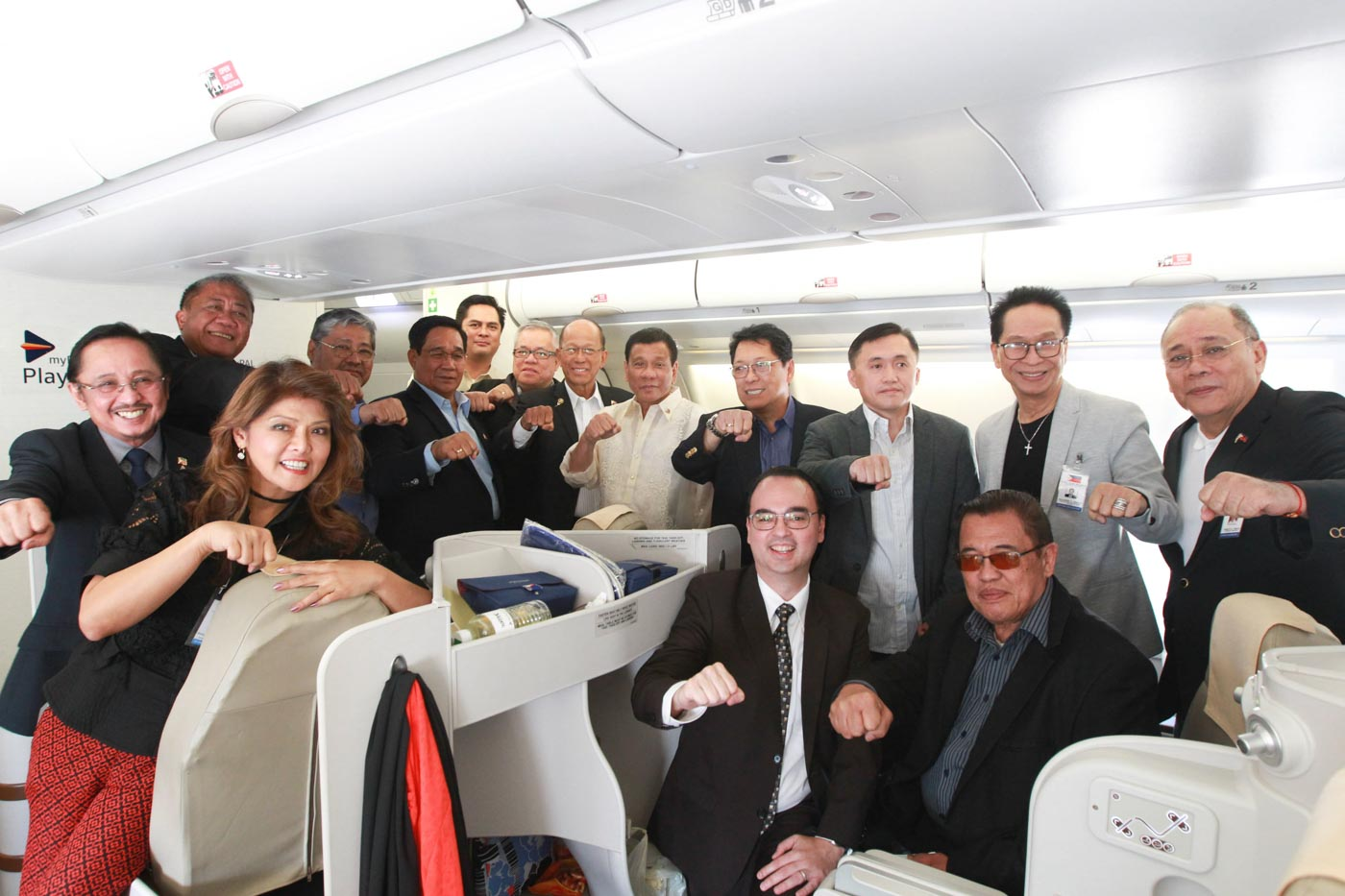 PRESIDENT'S PLANE BUDDIES. President Duterte brings along Cabinet members, government officials, and Ilocos Norte Governor Imee Marcos to the Middle East. Presidential photo