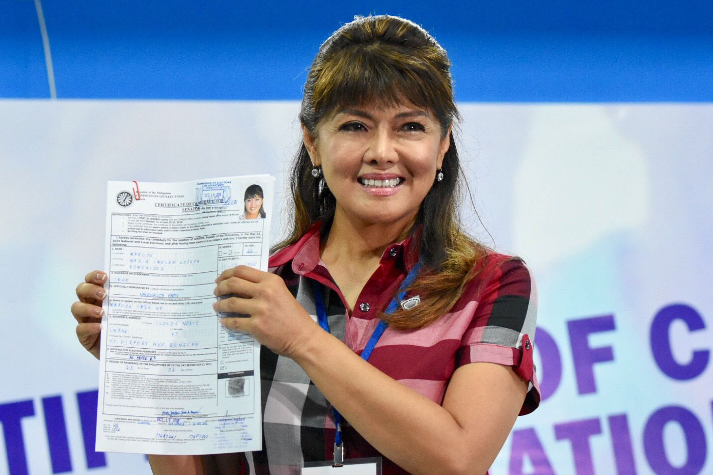 Ilocos Norte Governor Imee Marcos files her Certificate of Candidacy for Senator on October 16, 2018, at the Comelec office in Manila. Photo by Angie de Silva/Rappler