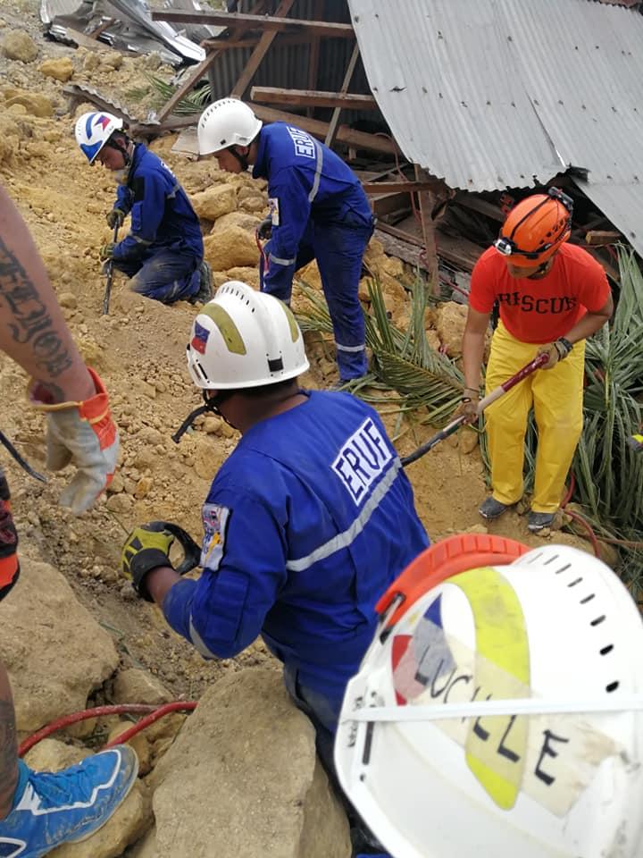 STILL SEARCHING. Dozens remain missing in the Naga City, Cebu landslide. Photo courtesy of Cebu Provincial government