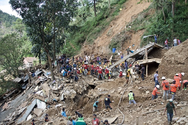 DEVASTATION. The bunkhouse of miners in Itogon, Benguet disappears after the earth collapsed from the mountain above it. Photo by Rambo Talabong/Rappler