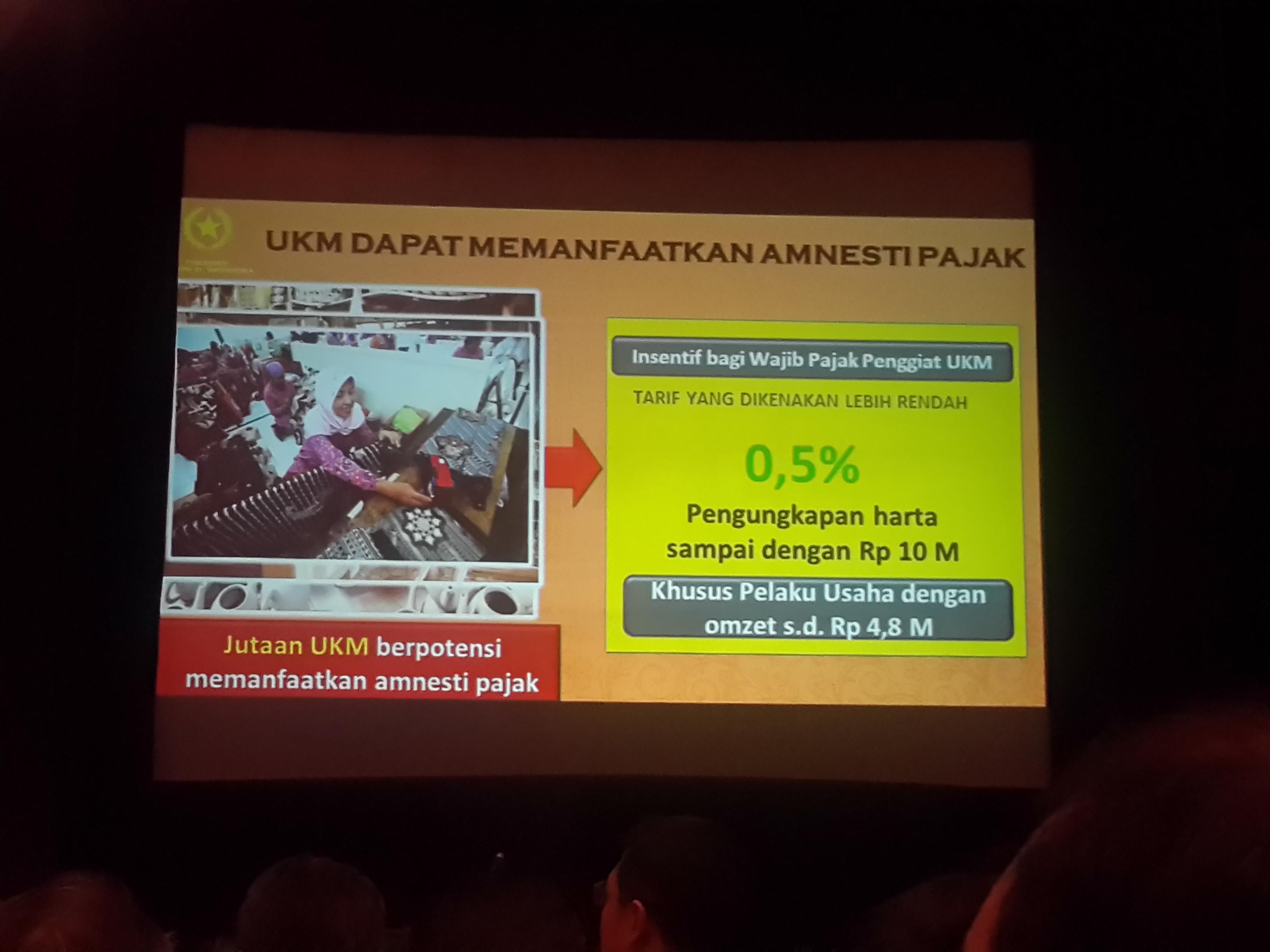 Bagian slide presentasi Presiden Jokowi: UKM Dapat Manfaatkan Tax Amnesty. Foto oleh Uni Lubis/Rappler