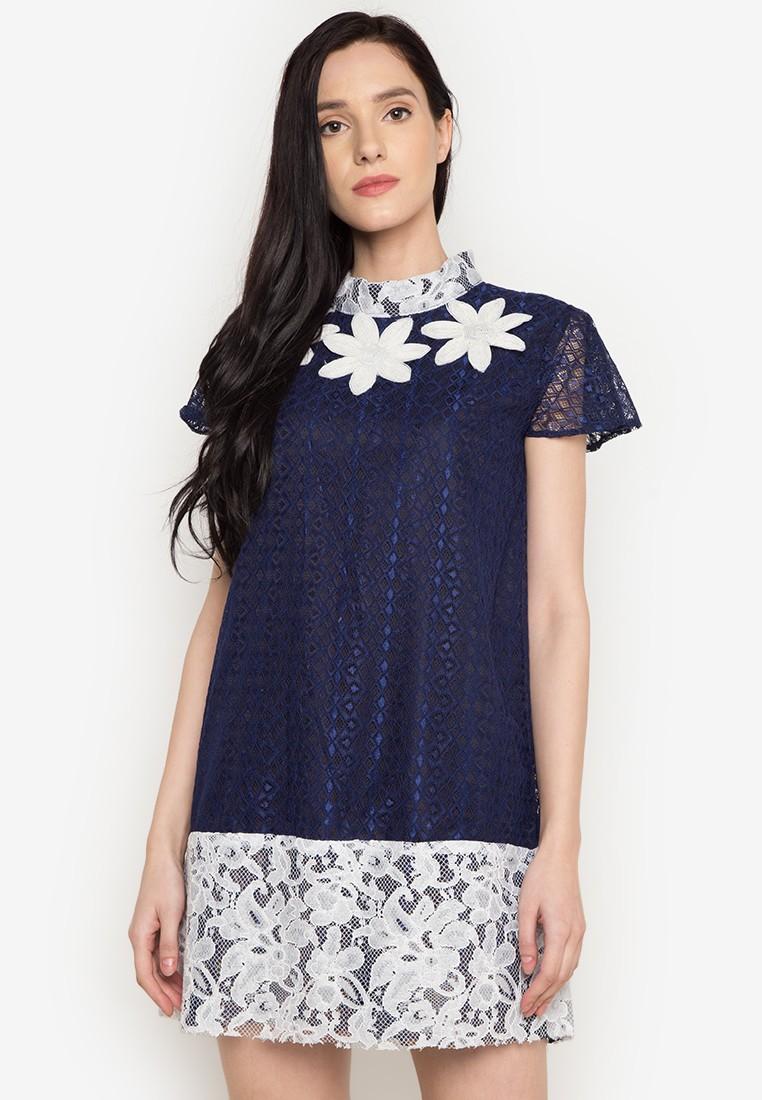 Blue lace dress by Rhett Eala