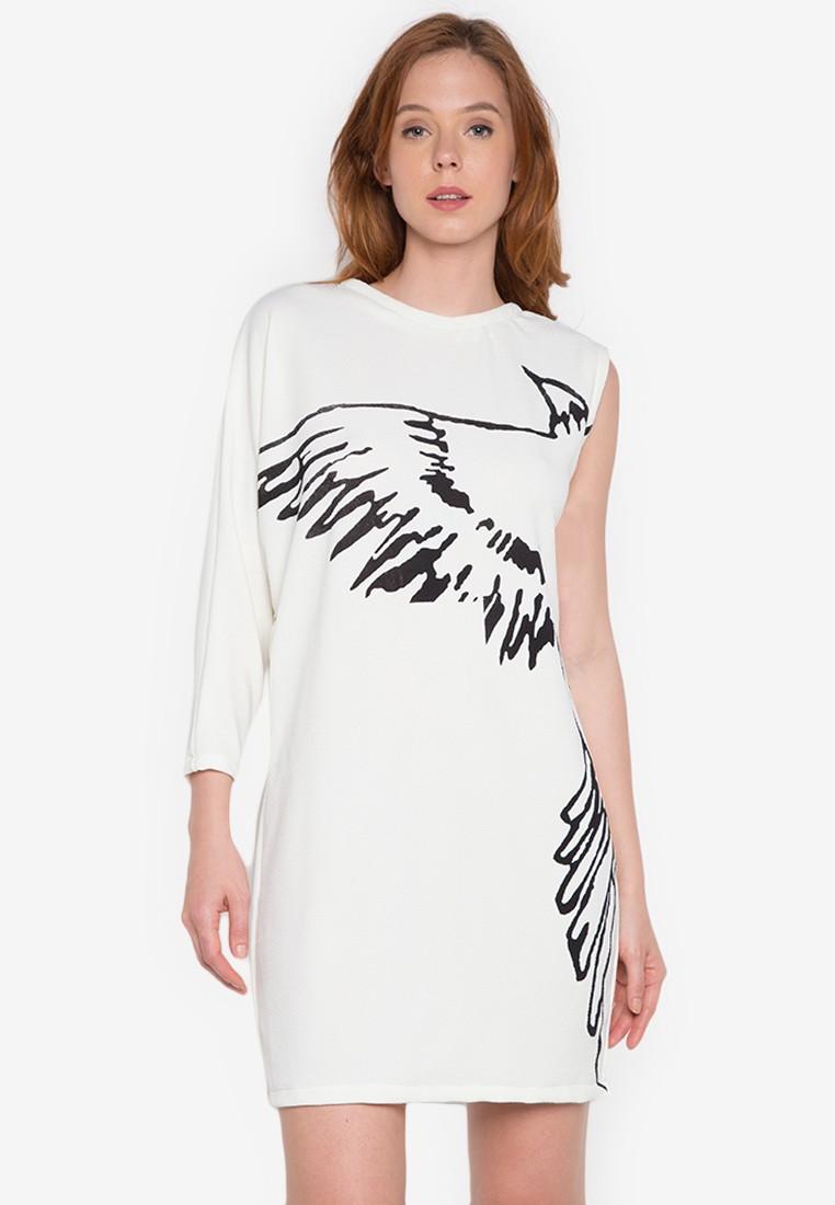 White asymmetric print jersey dress by John Herrera