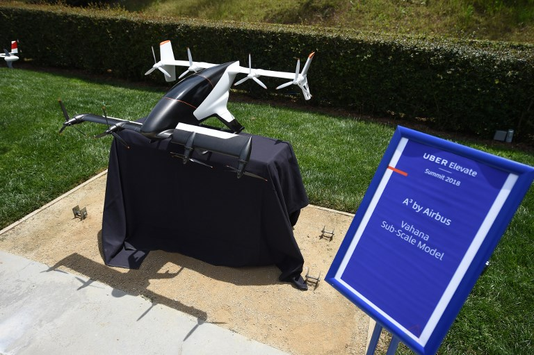 VAHANA. A sub-scale sized model of Vahana, the self-piloted, eVTOL concept aircraft from A? by Airbus. Photo by Robyn Beck/AFP