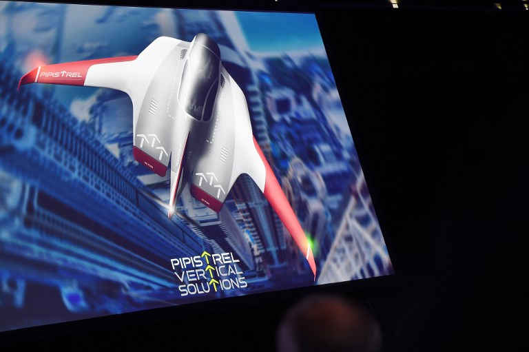 PIPISTREL. An image of the Pipistrel electric vertical take-off and landing (eVTOL) concept air taxi is shown on a screen. Photo by Robyn Beck/AFP