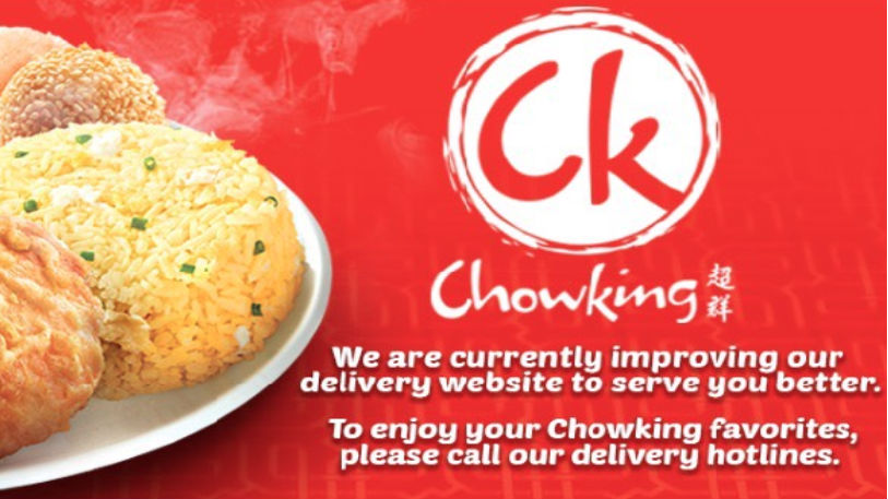 SUSPENDED. The Chowking delivery website shows this message if a visitor tries to access while the site is suspended by the Jollibee Foods Corporation