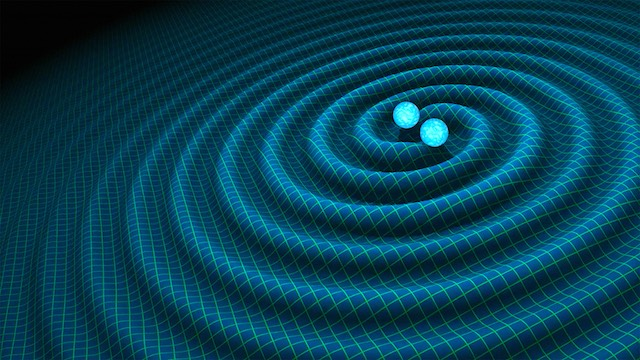 A undated handout graphic, made available February 11, 2016 by NASA / CALTECH-JPL, showing an artist's impression of gravitational waves generated by binary neutron stars. R. HURT / CALTECH-JPL / Handout