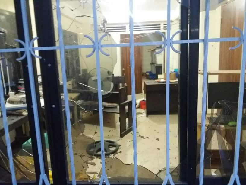 SHATTERED GLASS. Windows of the Lapinig Police Stations are shattered during the attack.