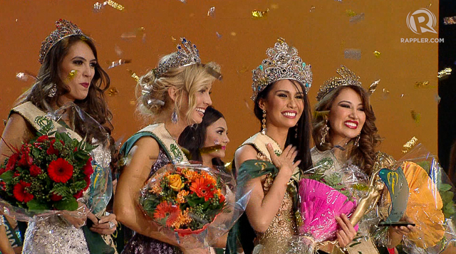 Angelia along with the winners of Miss Earth. Screengrab from Rappler