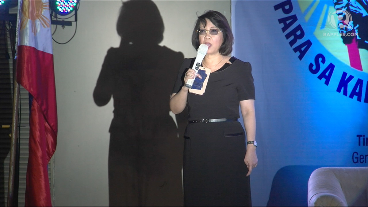 TINDIG PILIPINAS. Former chief justice Maria Lourdes Sereno delivers the key address of the biggest general assembly yet of Tindig Pilipinas, a coalition of opposition groups. Photo by Rappler