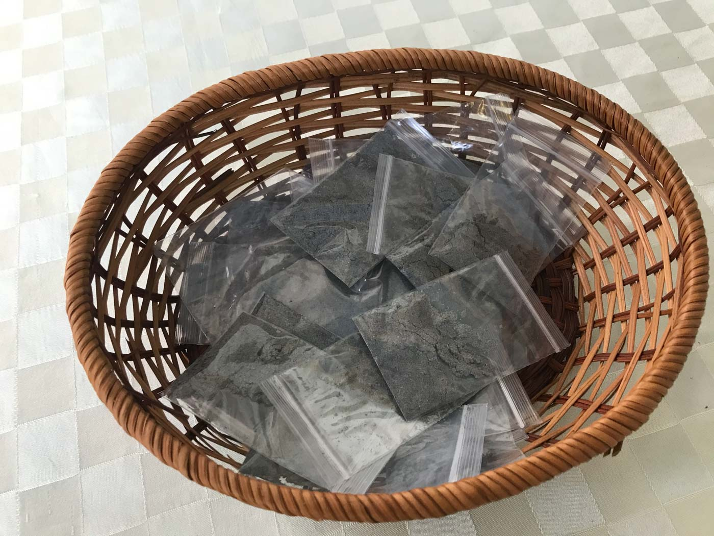 BLESSED ASHES. Catholics in Singapore take these plastic packets of ashes to mark their own foreheads on Ash Wednesday, February 26, 2020, as public Masses remain suspended in the city-state due to COVID-19. Photo by Paterno Esmaquel II/Rappler