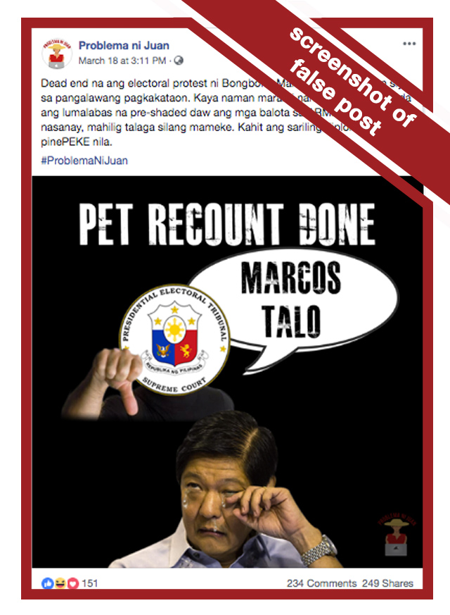 A screenshot of a claim on Facebook that alleges the poll recount is over and Marcos won.
