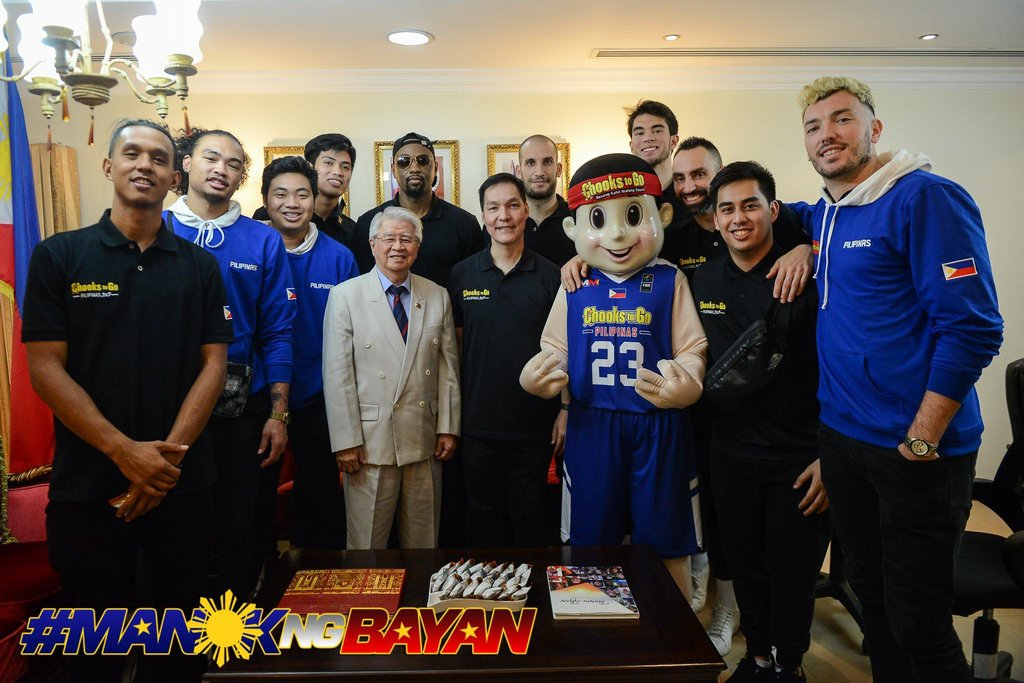 ALL SET. Filipino 3x3 basketball players pay a courtesy call on  Philippine Ambassador to Doha H.E. Alan L. Timbayan before their teams plunge into action in the 3x3 world circuit. Photo release