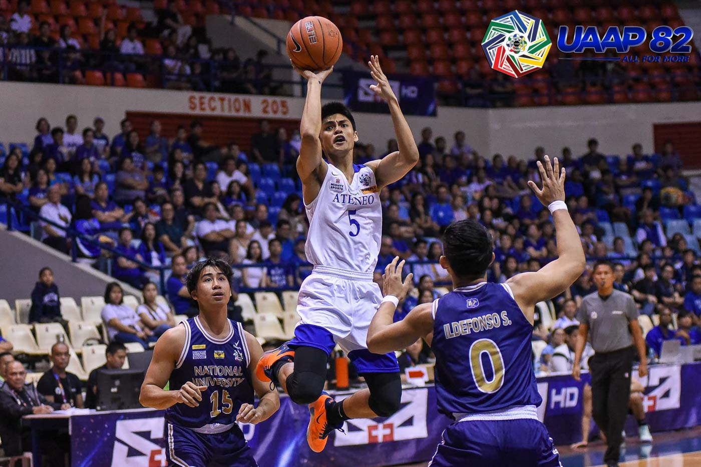 OFF THE BENCH. Giving the Blue Eagles a boost, Gian Mamuyac fires 13 points on a 4-of-6 shooting clip. Photo release
