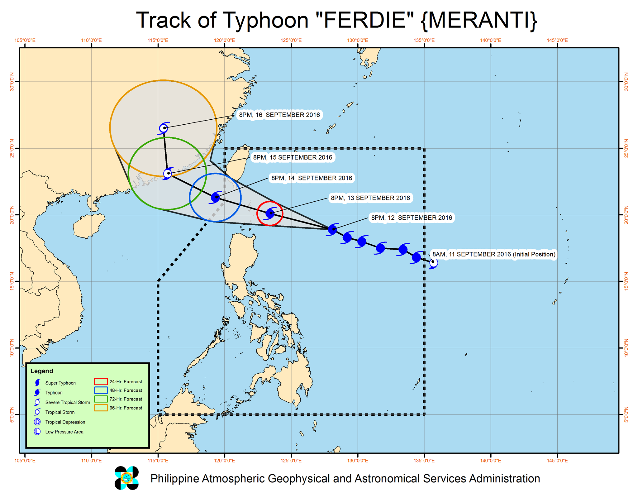 Forecast track of Typhoon Ferdie as of September 12, 11 pm. Image courtesy of PAGASA