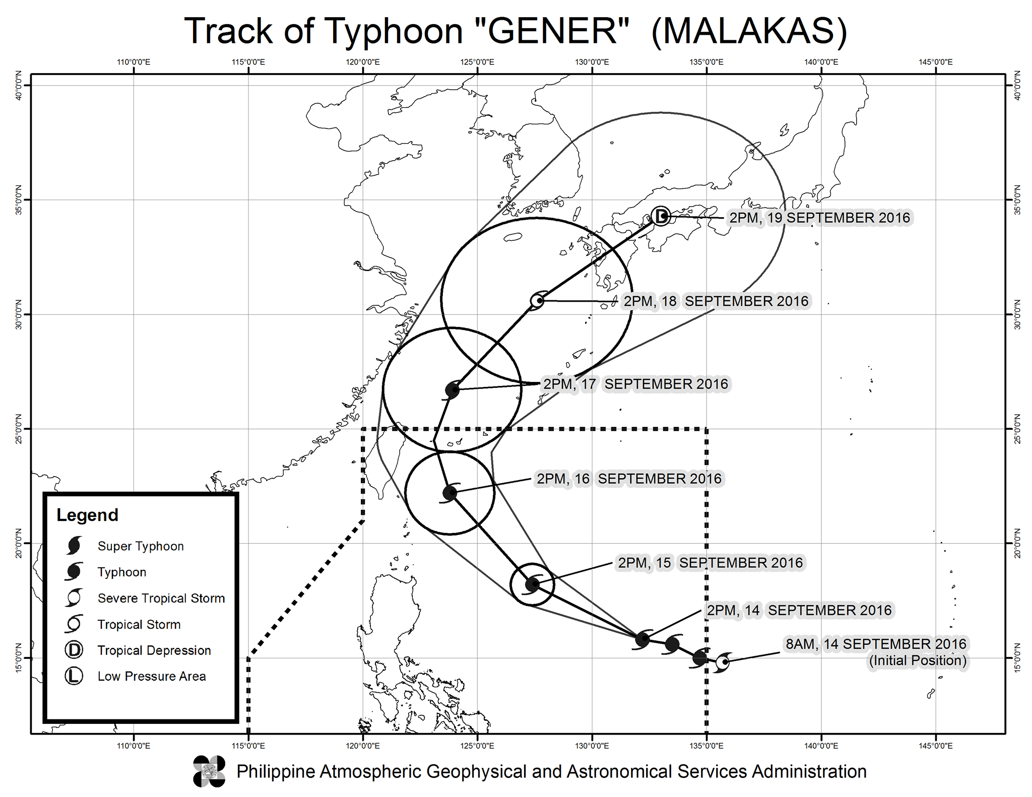 Forecast track of Typhoon Gener as of September 14, 5 pm. Image courtesy of PAGASA