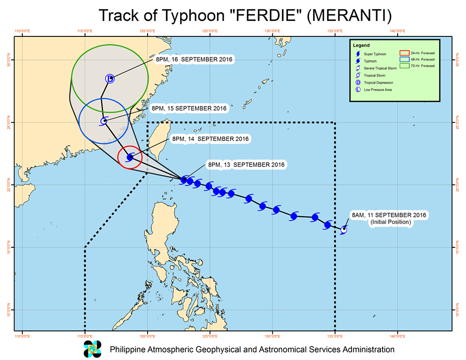 Forecast track of Typhoon Ferdie as of September 13, 11 pm. Image courtesy of PAGASA