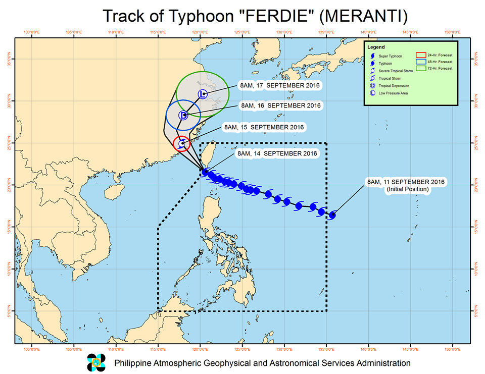 Forecast track of Typhoon Ferdie as of September 14, 11 am. Image courtesy of PAGASA