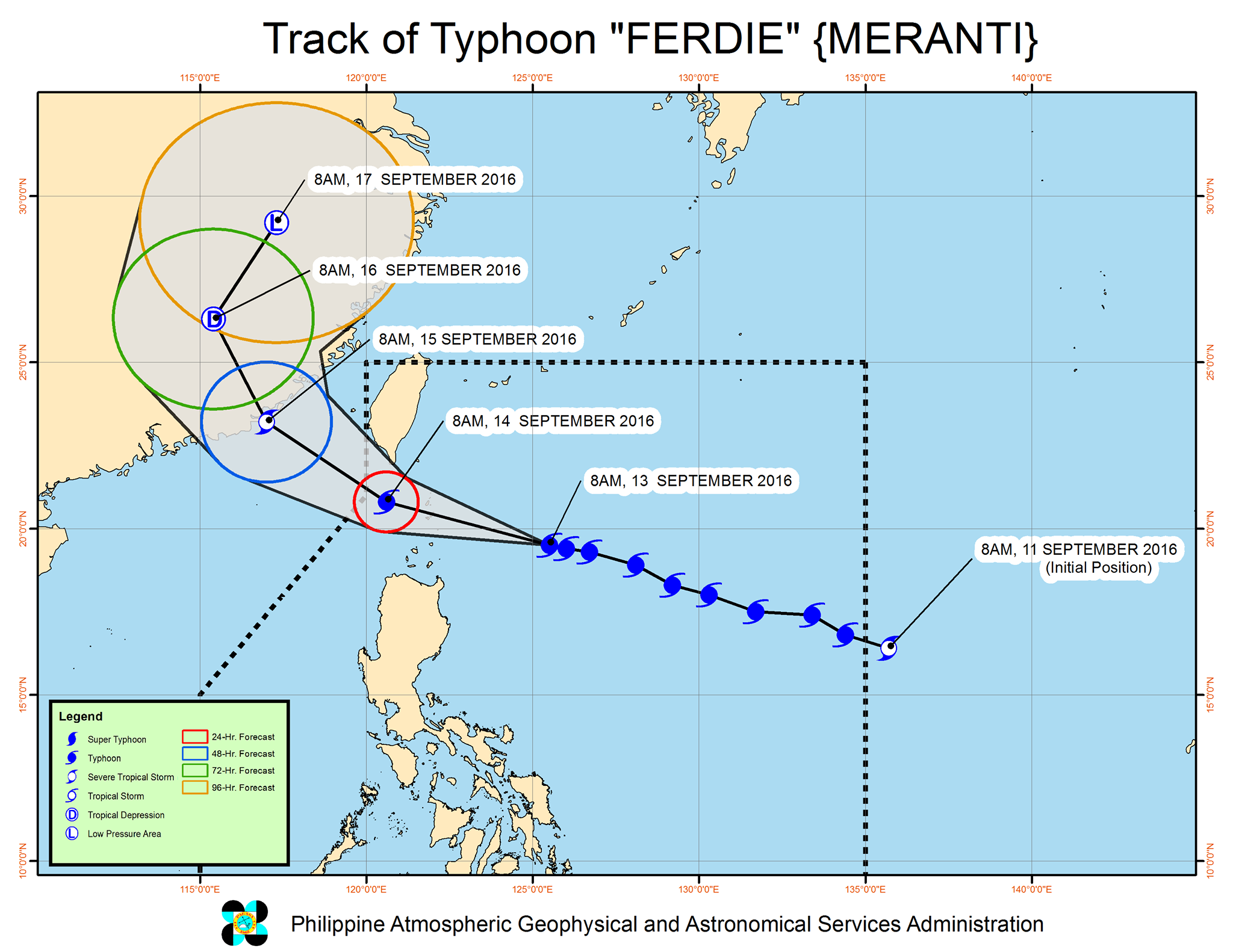 Forecast track of Typhoon Ferdie as of September 13, 11 am. Image courtesy of PAGASA