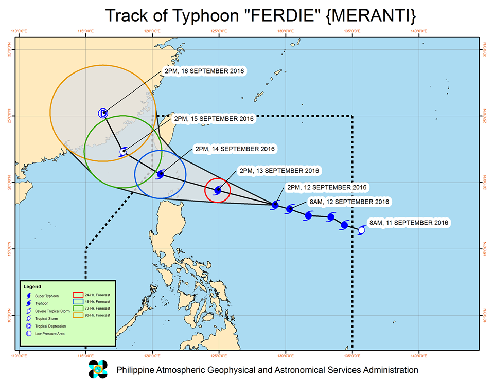 Forecast track of Typhoon Ferdie as of September 12, 5 pm. Image courtesy of PAGASA