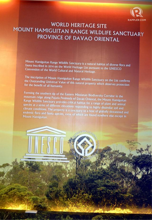 UNESCO INSCRIPTION. The UNESCO inscription that declares Mount Hamiguitan a World Heritage Site. Photo by Henrylito D. Tacio/Rappler.com