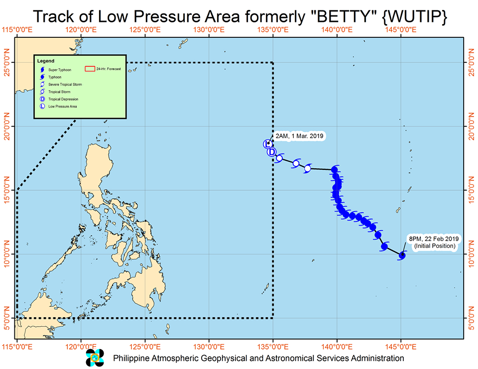 Forecast track of the low pressure area that used to be Tropical Depression Betty (Wutip), as of March 1, 2019, 4 am. Image from PAGASA