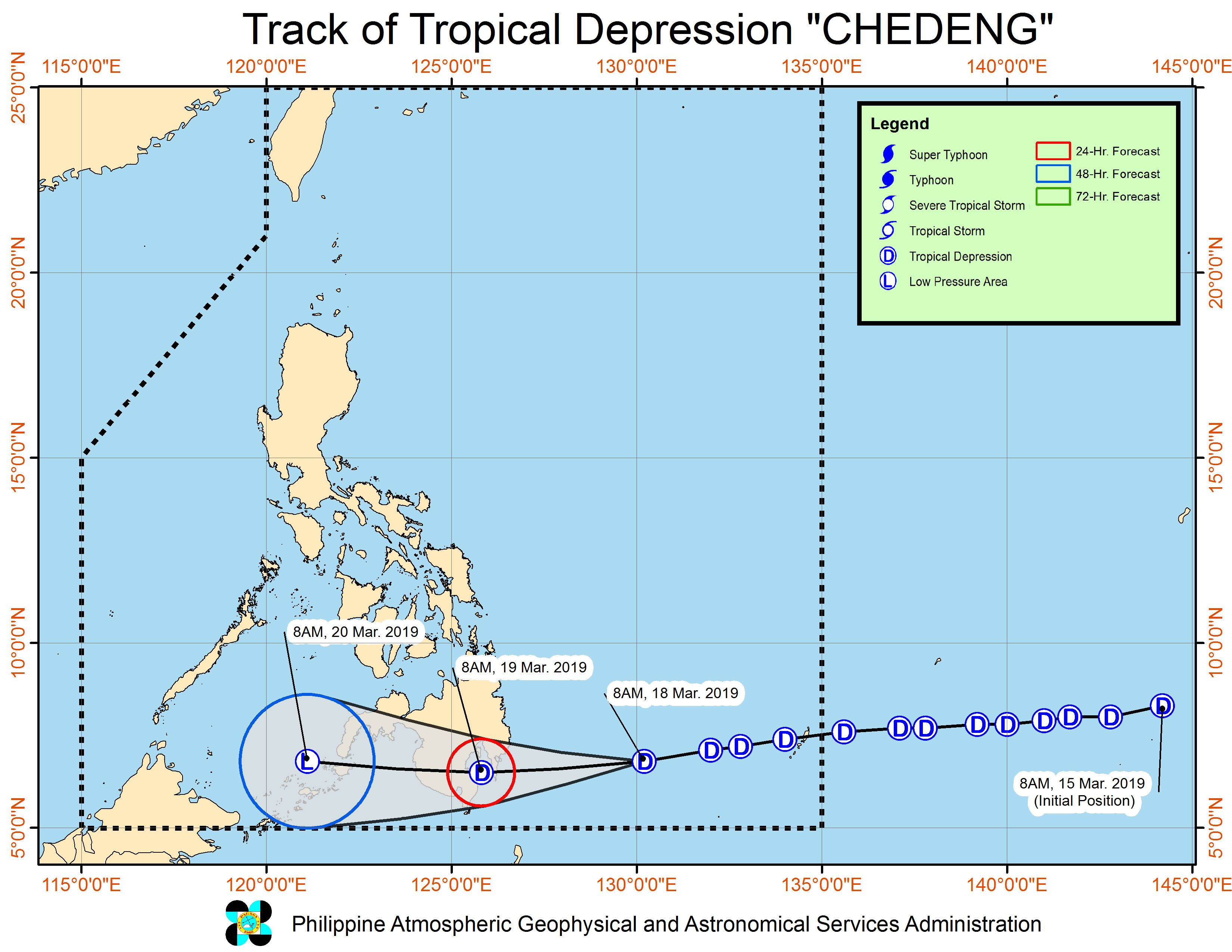 Forecast track of Tropical Depression Chedeng as of March 18, 2019, 11 am. Image from PAGASA
