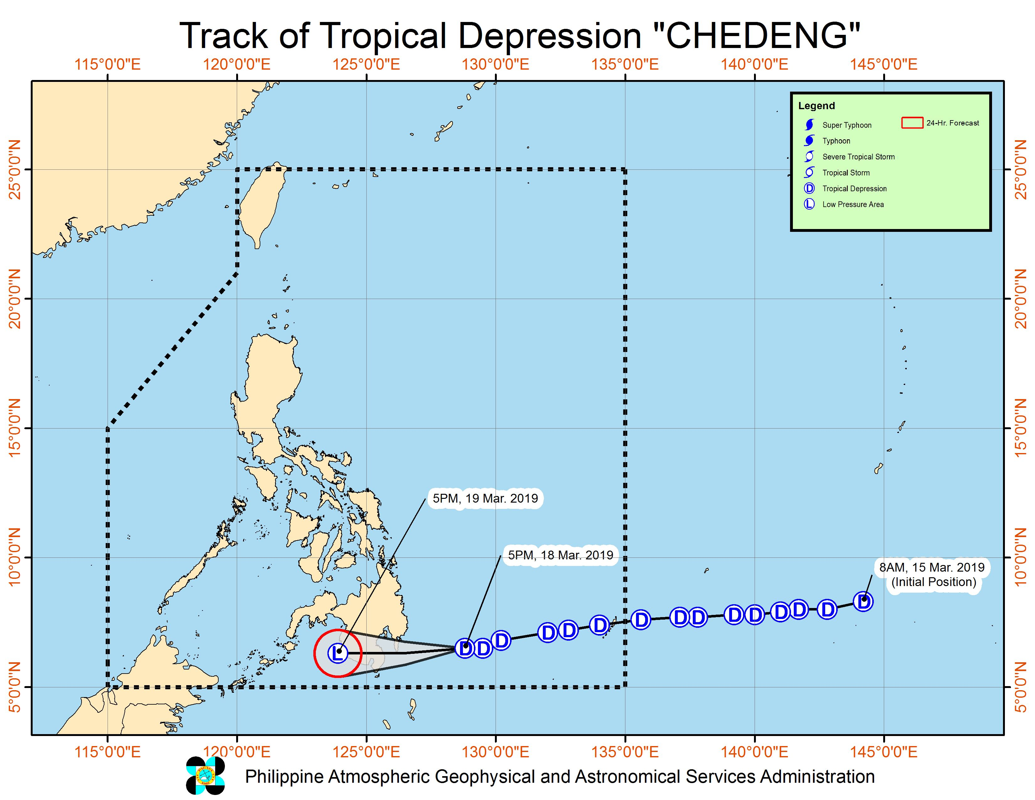 Forecast track of Tropical Depression Chedeng as of March 18, 2019, 5 pm. Image from PAGASA