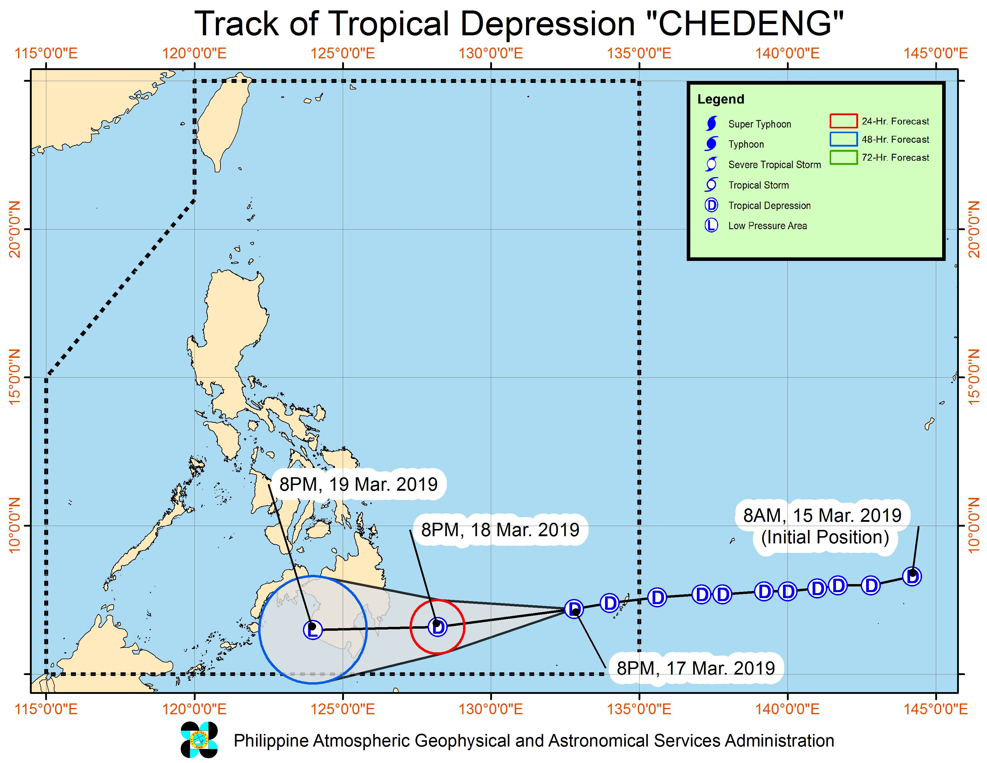 Forecast track of Tropical Depression Chedeng as of March 17, 2019, 11 pm. Image from PAGASA
